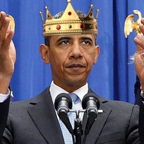 A photo of Barack Obama wearing a crown.